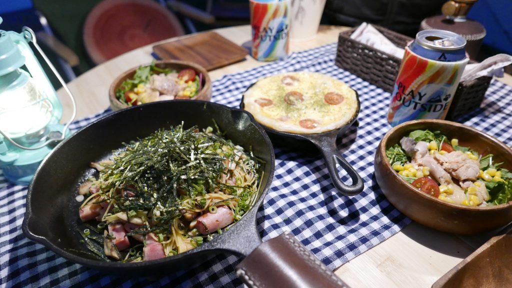 キャンプ料理-キッシュとパスタ