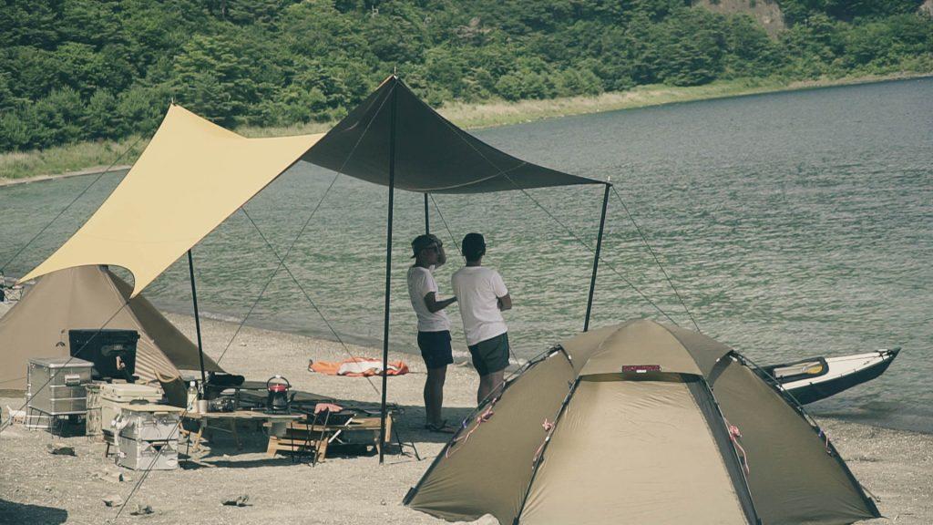 浩庵キャンプ場で幕男タープ